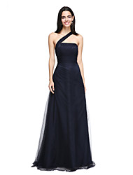 LAN TING BRIDE Floor-length One Shoulder Bridesmaid Dress - Elegant Sleeveless Tulle