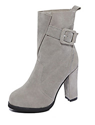 Women's Boots Spring / Fall / Winter Platform Leather Casual Chunky Heel Hook & Loop Black / Gray Others