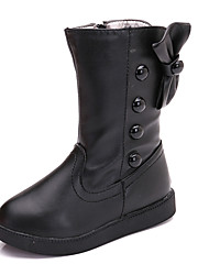 Girl's Boots Spring / Summer / Fall / Winter Comfort Leather Outdoor / Casual Low Heel Side Zippers Black / Pink / Red Walking