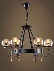6 Heads Creative Vintage Glass Chandelier Traditional/Classic Metal Living Room Bedroom Dining Room Light Fixture