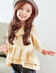 Tee-shirts Fille de Couleur Pleine Décontracté / Quotidien Coton Printemps Noir / Beige