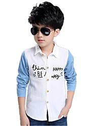 Boy's Wild Patchwork Color Block Print Letter Long Sleeve Shirt