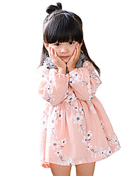 Girl's Cotton Spring/Fall Fashion Casual/Daily Sweet Floral Dress Long Sleeve Princess Skirt