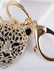 New Metal Keychain Diamond Leopard Head Pendant Bag Accessories Automotive Key Ring Clothing Accessories