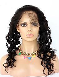 360 frontal Ondulation Lâche Cheveux humains Fermeture Brun roux Dentelle Française 75-95 gramme Moyenne Taille du Bonnet