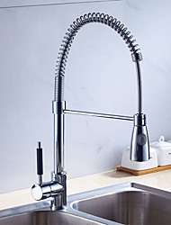 Kitchen Faucet Contemporary Pullout Spray Stainless Steel Spring Nickel Brushed Finish Single Handle