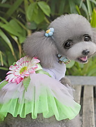 Dog Dress Green Dog Clothes Summer / Spring/Fall Flower Cute