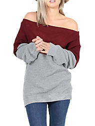 Women's Casual/Daily / Sports / Holiday Sexy / Simple / Street chic Long Pullover,Solid Red / White / Black / Gray Turtleneck Long Sleeve
