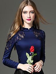 Mujer Sexy / Tejido Oriental / Sofisticado Noche / Casual/Diario / Trabajo Otoño / Invierno Camiseta,Escote ChinoUn Color / Retazos /