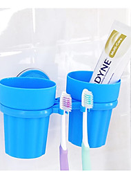A couple Of Teeth Rack Wash Bath Set Suction Cup Creative Suction Cup Toothbrush Holder Lovers Cup    (Random Colours)