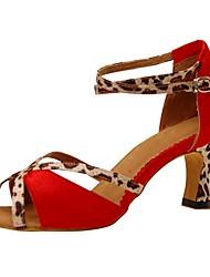 Sapatos de Dança(Rosa / Vermelho) -Feminino-Personalizável-Latina / Jazz / Salsa / Sapatos de Swing