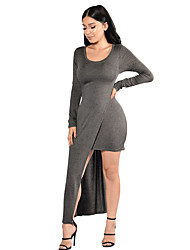 Women's Casual/Daily / Party Sexy / Simple Slim Bodycon DressSolid Round Neck Asymmetrical Long Sleeve