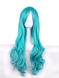 Long Wavy Cosplay Wig Costume Party Bule Color Synthetic Wigs