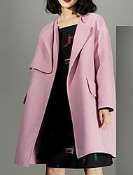 Женский На каждый день Однотонный Пальто Лацкан с тупым углом,Простое Зима Розовый Длинный рукав,Шерсть,Средняя
