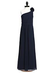 2017 Lanting vestido longo bride® chiffon dama de honra júnior bainha / coluna de um ombro com faixa fita /