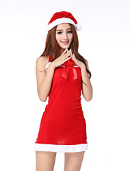Fantasias de Cosplay Ternos de Papai Noel Cosplay de Filmes Vermelho Cor Única Vestido / Chapéus Natal Feminino Elastano