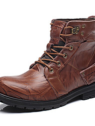 Men's Boots Spring Fall Winter Others Leather Outdoor Casual Flat Heel Lace-up Black Brown Coffee Others