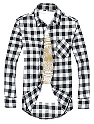 Men's Wedding / Going out / Casual/Daily Simple / Boho / Street chic Fall / Winter Shirt,Plaid Spread Collar Long SleeveBlue / Red /