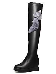 Damen-Stiefel-Lässig Party & Festivität-Kunststoff-Keilabsatz-Modische Stiefel-Schwarz