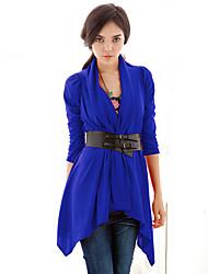 Feminino Casaco Casual / Trabalho / Férias Vintage / Simples / Boho Todas as Estações / Primavera,Sólido Azul / Vermelho / BegeAlgodão /