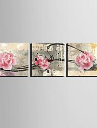 Quadratisch Modern/Zeitgenössisch Wanduhr , Anderen Leinwand30 x 30cm(12inchx12inch)x3pcs / 40 x 40cm(16inchx16inch)x3pcs/ 50 x