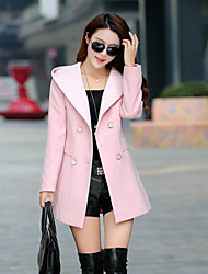 Women's Casual/Daily Simple Coat,Solid Long Sleeve Pink Others