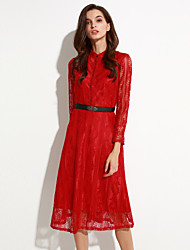 Women's Going out Street chic Swing Dress,Solid Round Neck Midi Long Sleeve Red / Black Polyester Fall / Winter