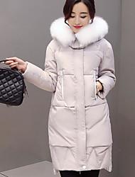 Feminino Casaco Capa,Simples Sólido Casual-Pêlo de Raposa Penas de Pato Branco Manga Longa Com Capuz Cinza