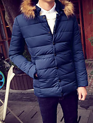 Men's Long Padded Coat,Simple Casual/Daily Solid-Cotton Without Filling Material Long Sleeve Hooded Blue / Beige / Black