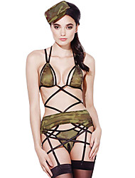 4pcs Sexy Sheer Army Lingerie Outfit