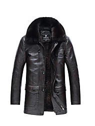 Men's Casual/Daily Simple Leather Jackets,Solid Long Sleeve Winter Black Polyester Medium