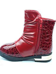 Girl's Boots Winter Comfort PU Dress / Casual Flat Heel Pom-pom Black / Red / White Walking