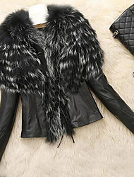 Women's Plus Size / Casual/Daily Simple Jackets,Solid Long Sleeve Winter Black / Brown Faux Fur Medium