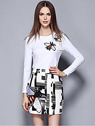 Damen Stickerei Street Schick Ausgehen Rock Anzüge,Rundhalsausschnitt Langarm Weiß Polyester