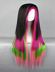 High Quality Colorful Hair 80cm Long Straight Synthetic Halloween Lolita Wig