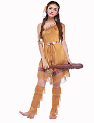 Cosplay Costumes Primitive Halloween Brown Print Cotton Dress / Armlet / Belt / Leg Warmers / Headwear