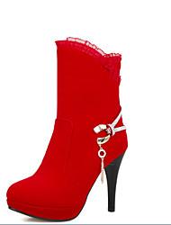 Черный / Красный-Женский-На каждый день-Материал на заказ клиента-На шпильке-Others-Ботинки