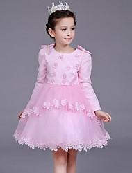A-line Knee-length Flower Girl Dress - Satin / Tulle Long Sleeve Jewel with Flower(s) / Pearl Detailing / Ruffles