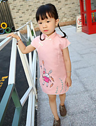 Girl's Casual/Daily Print Dress,Cotton Spring Fall Short Sleeve