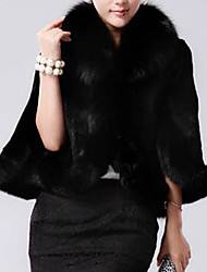 Women's Casual/Daily / Party/Cocktail Simple Cloak/Capes,Solid Round Neck ½ Length Sleeve Fall / Winter Black Rabbit Fur / Faux Fur