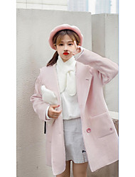 Women's Casual/Daily Cute CoatSolid Hooded Long Sleeve Winter