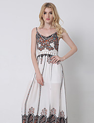 1287 Women's Casual/Daily / Formal Street chic Swing DressPrint Strap Maxi Sleeveless Gray / Orange Cotton / Polyester