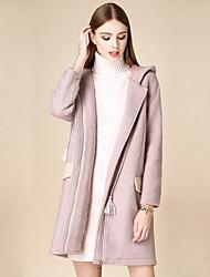 Женский На каждый день Однотонный Пальто Лацкан с тупым углом,Простое Зима Розовый Длинный рукав,Хлопок