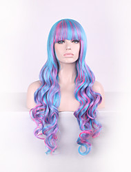 Blue Harajuku Ombre Wig Pelucas Pelo Curly Natural Heat Resistant Anime Cosplay erruque Synthetic Wigs Long Women hair style