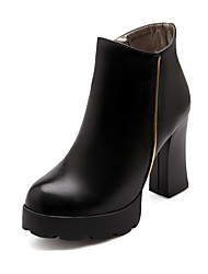 Women's High-Heels Solid Round Closed Toe Soft Material Zipper Boots