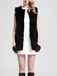 Women's Going out / Casual/Daily Simple Fur Coat,Solid Round Neck Sleeveless Fall / Winter Multi-color Rabbit Fur Medium