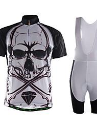 Esportivo Camisa com Bermuda Bretelle Homens Manga Curta MotoRespirável / Secagem Rápida / Zíper Frontal / Bolso Traseiro / Tecido Ultra