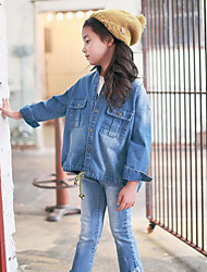 Girl's Casual/Daily Solid ShirtCotton Fall Blue