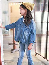 Menina de Camisa,Casual Cor Única Algodão Outono Azul
