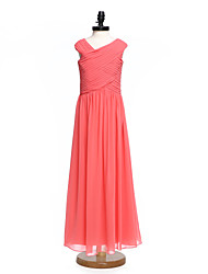 Lanting Bride Floor-length Chiffon Junior Bridesmaid Dress A-line V-neck with Criss Cross / Ruching